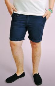 Navy Hawaii Print Turn Up Chino Shorts